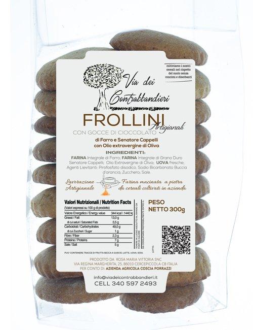 Frollini con gocce di cioccolato di Farro e Grano Duro con Olio extravergine